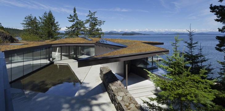 1 quadra island home living roof glass floors natural pond