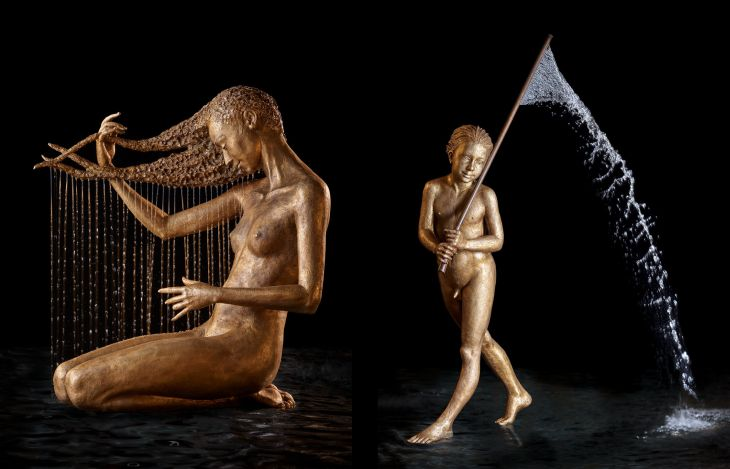 1 bronze water fountain sculptures malgorzata chodakowska