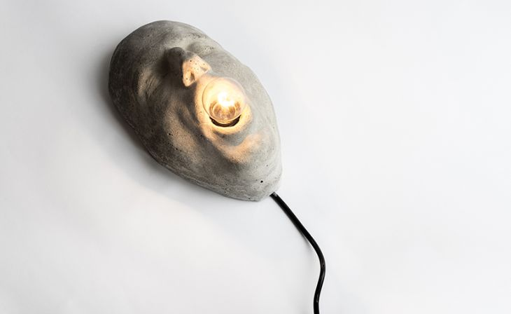 9 head hand mouth lamps cast concrete cek