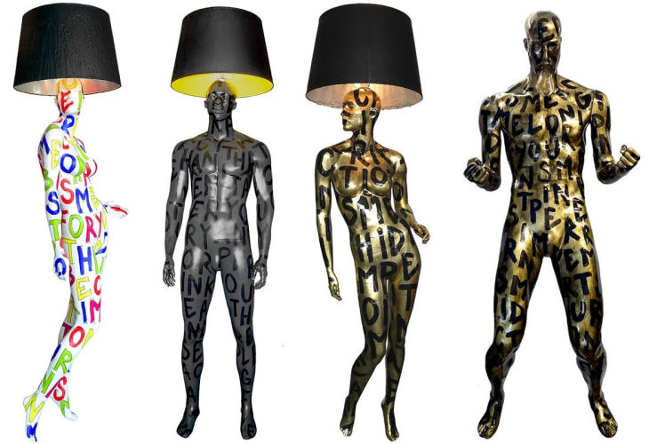 10 hand painted manikin floor lamps jimmie martin