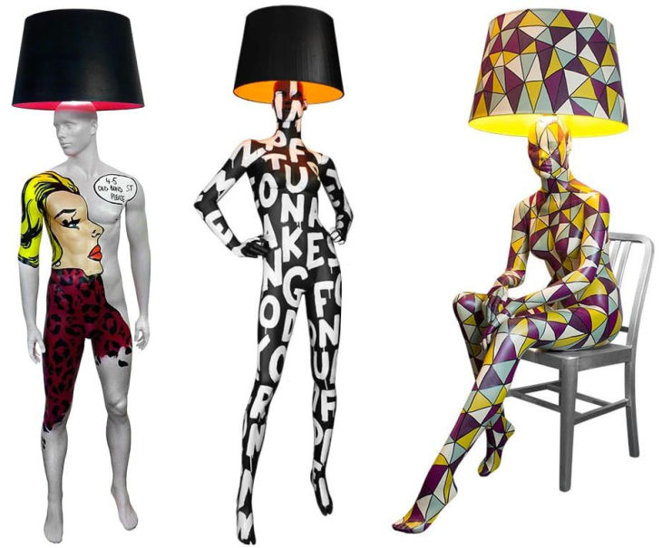 11 hand painted manikin floor lamps jimmie martin