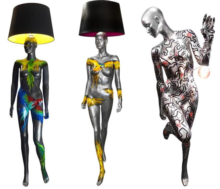 6 hand painted manikin floor lamps jimmie martin
