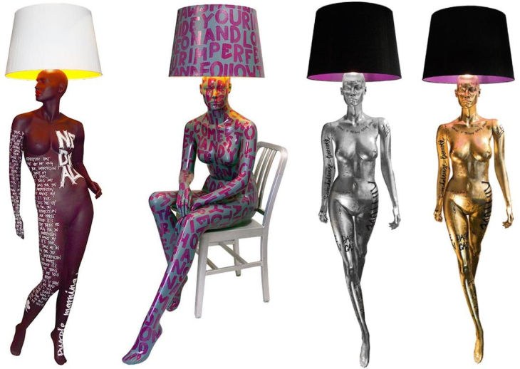 8 hand painted manikin floor lamps jimmie martin