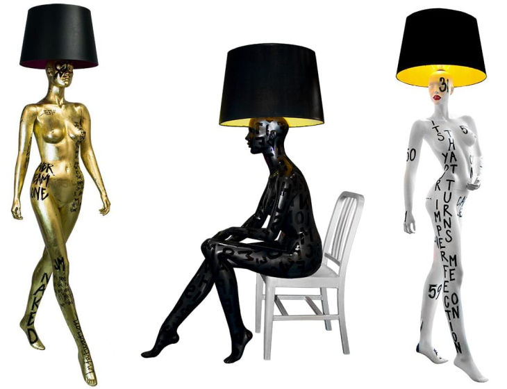 9 hand painted manikin floor lamps jimmie martin