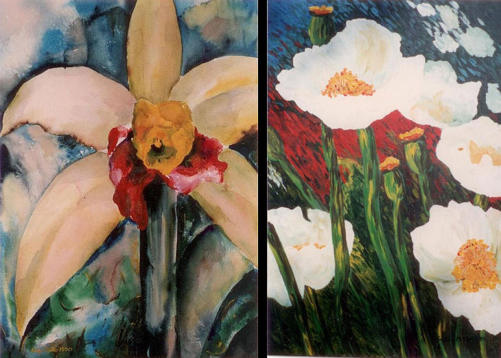 2 floral paintings evelyn m